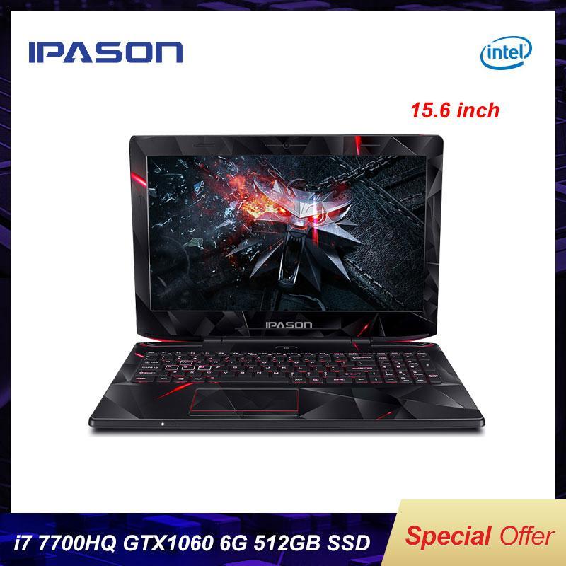 IPASON INTEL I7 7700HQ GTX1060 6G 15.6 بوصة IPS الألعاب محمول RGB 8GB 16GB RAM DDR4 256GB / 512GB SSD ألعاب الكمبيوتر المحمول
