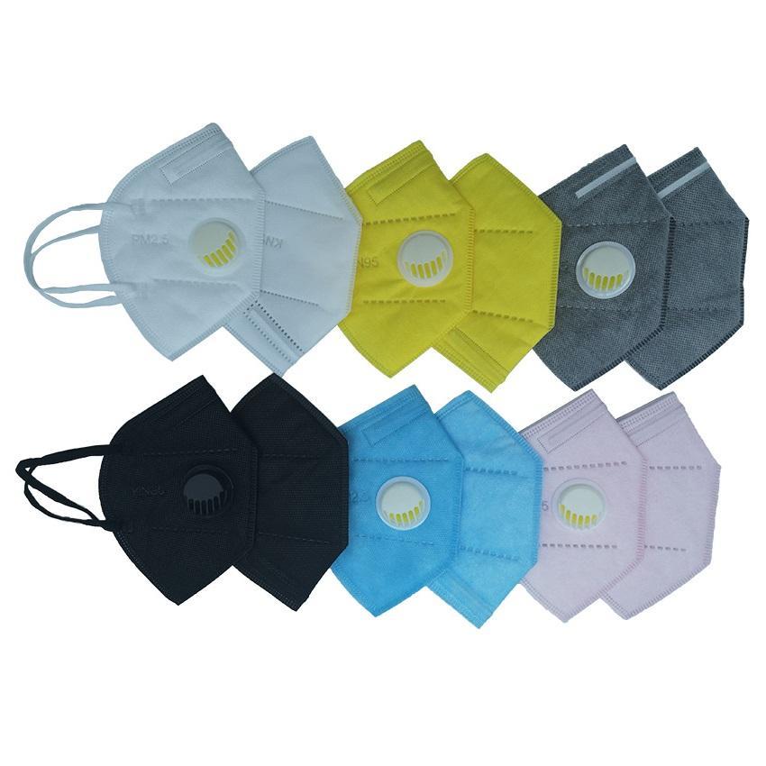 DHL transporte rápido descartável 5-6ply meltbrown face máscara máscara de válvula de pó com válvula respiratória com respirador preto cinza branco azul máscara