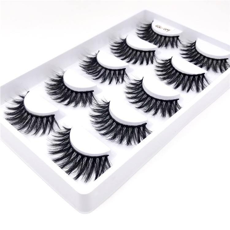 5 pares 4D falso vison pestanas falsas Grosso Criss-cross Maquiagem Fluffy pestana Natural longos cílios Handmade Lashes Beauty