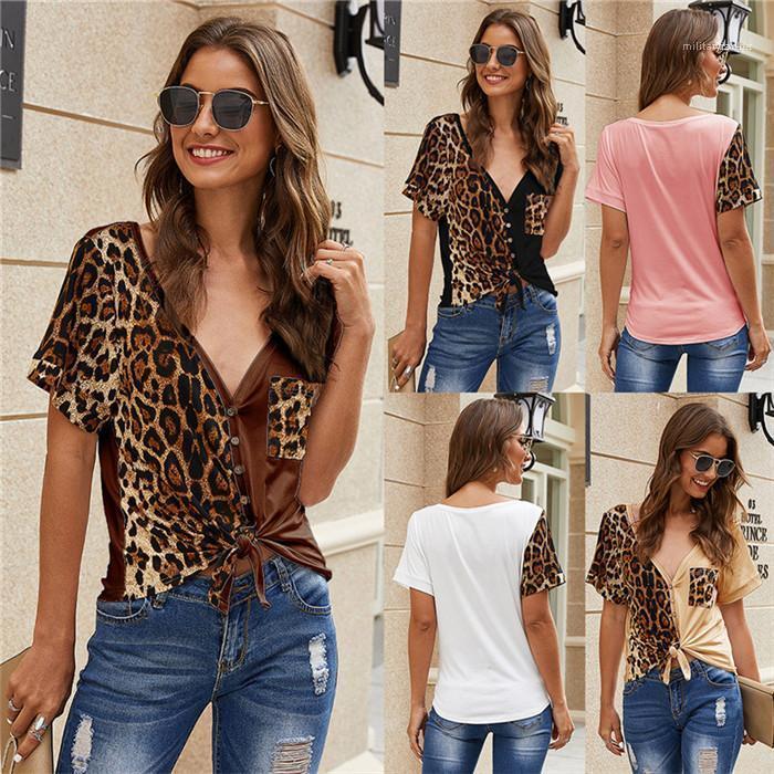 슬림 불규칙한 바느질 포켓 니트웨어 패션 여성 T 셔츠 여름 디자이너 여자 티 레오파드 짧은 캐주얼 인쇄하기