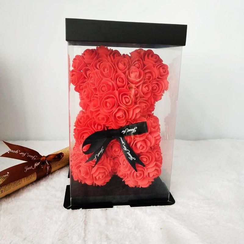 Лучшего качество Творческого Подарок пенополиэтилен Роза Hug Медведь коробка Главный Пластиковый цветок Outlet