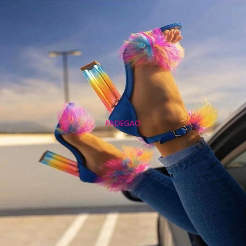 Frauen-Sommer-Thin hohe freier Absatz-Blick-Zehe-Plattform-Sandelholz-Braut Hochzeit Schuhe Damen Mujer Sapato Feminino