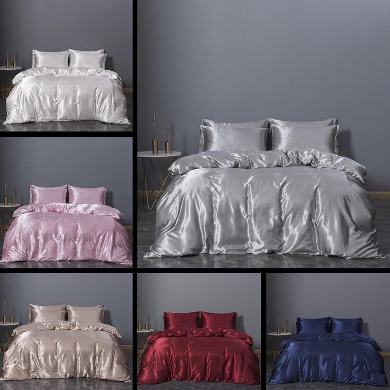 Luxe Silky sentiment Literie satin Reine Lit king-size Ensemble douillette couette housse de couette Linge avec Pillowcases gris Bedcloth