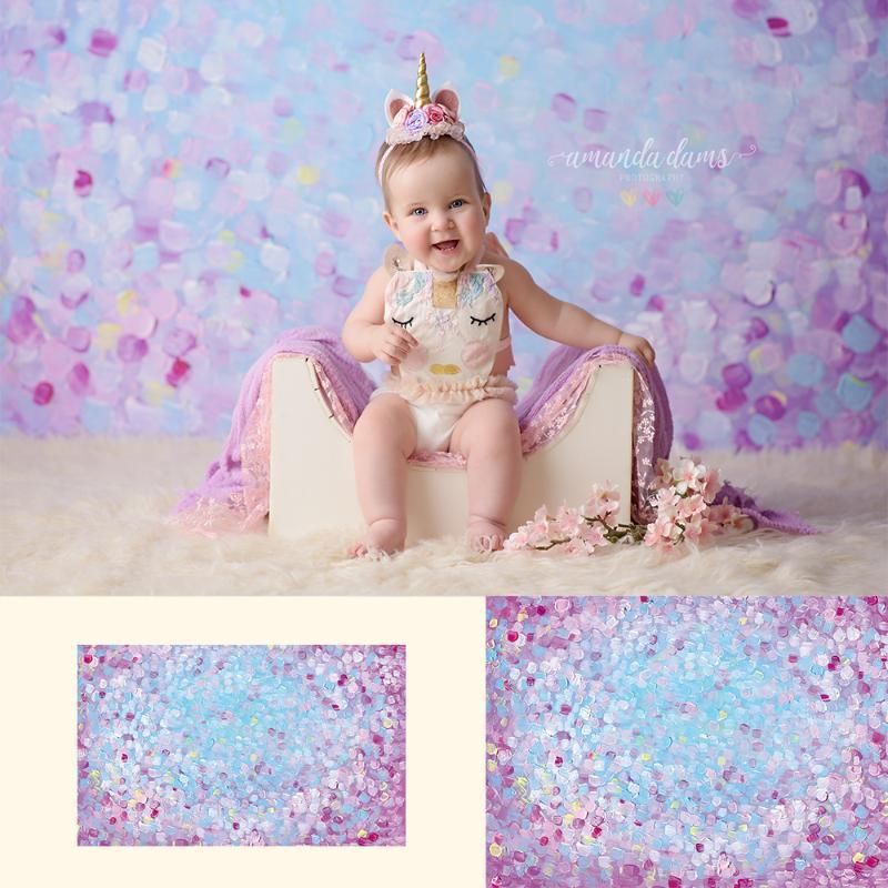 Art Painted - Newborn Portrait Photo Backdrops Purple Painted Printed Background Girls Art Photo Studio Backdrop