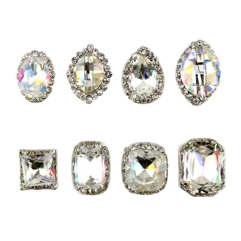 Prego ZINXIN 5pcs / Lot K9 prata cristal Strass Arte decorativa Pedrinhas Liga Big Detalhes no Glitter Jóias Nails Acessórios