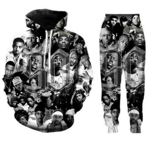 2020 Nouveau Hommes / Femmes 90 Old School 3D Print Mode Hip Hop Survêtements Crewneck Sweat-shirt et pantalon + Hoodies K011