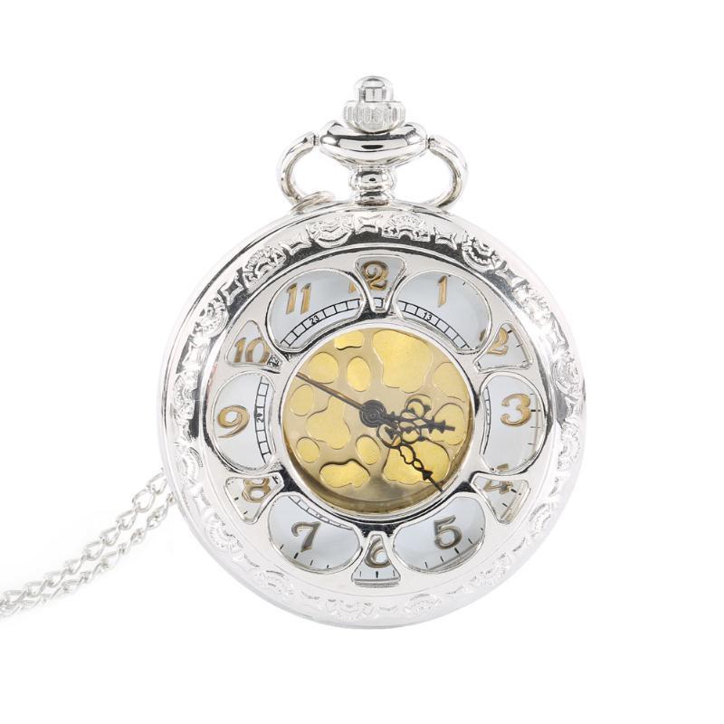 Orologi da taschino Vintage Hollow Flower Al Quarzo Orologio Roman Number collana Pendente con catena Compleanno Gifts ll @ 17