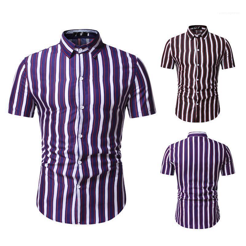 Щитовые мужские рубашки с коротким рукавом отложным воротником Повседневный мужская одежда Мужские летние рубашки Мода Полосатый