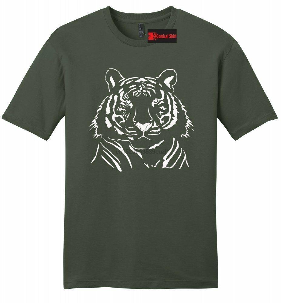 Tiger Face Graphic Tee Animal Lover Tiger Drawing Мужская мягкая футболка