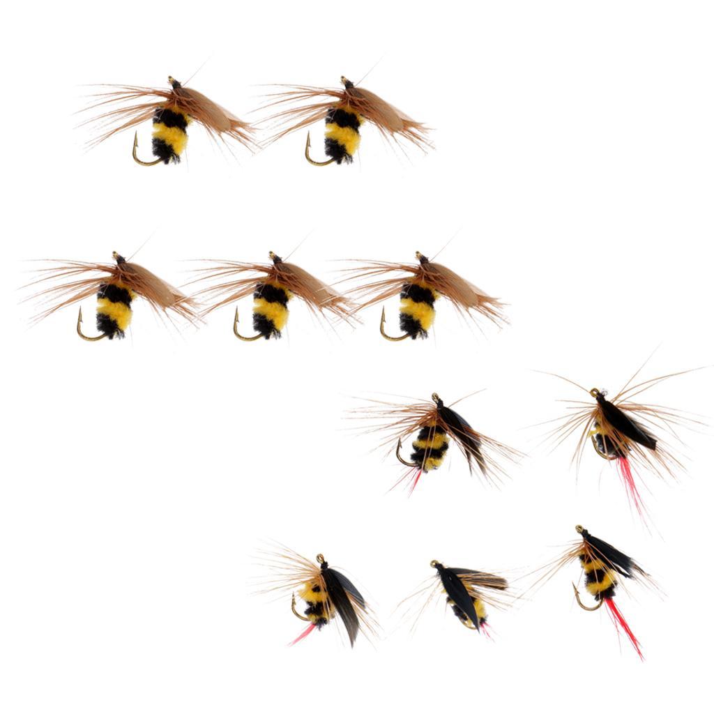 10pcs Negro Amarillo manosea la mosca seca mosca artificial de insectos cebo de pesca
