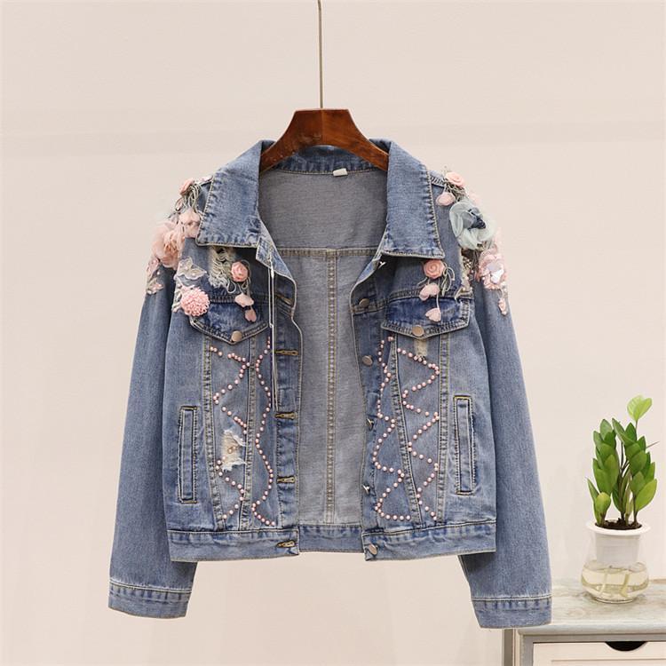 İlkbahar Sonbahar Koreli Jeans Coat Kadınlar Yeni Boncuk Yıpranmış Stereo Çiçek Nakış Denim Ceket Erkek Öğrenci Temel Coats