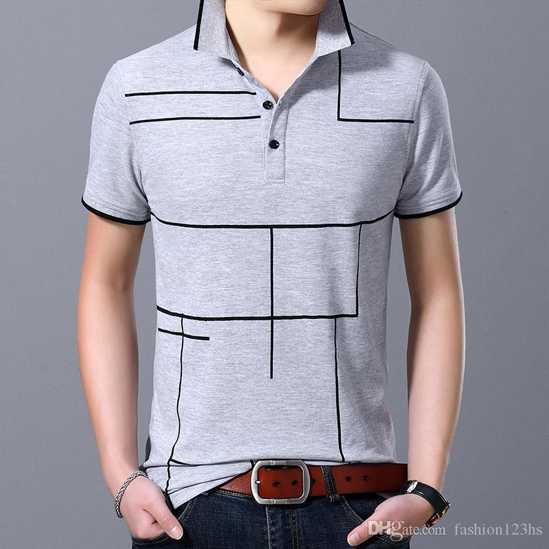 2020 Yeni Moda Marka Polo Gömlek Erkek Plaid Üst Sınıf Yaz Kısa Kollu Slim Fit Pamuk Boys Shirt Casual Erkek Giyim