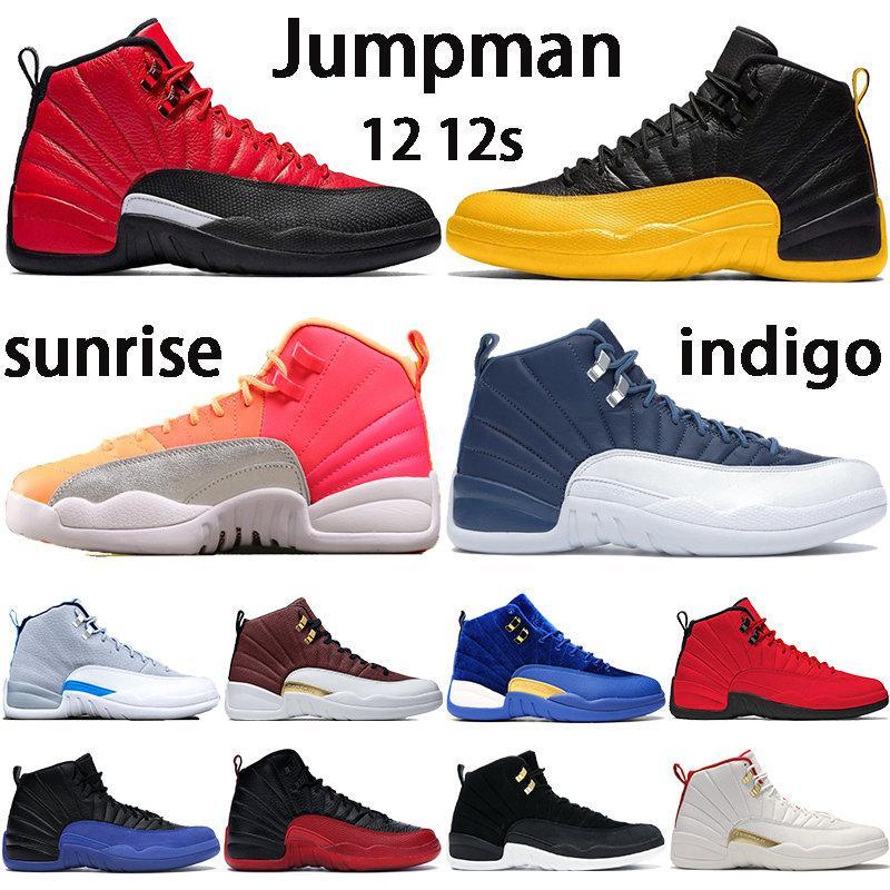 Neue 12 12s Jumpman Basketballschuhe indigo Universität Gold Reverse Grippe Spiel Sonnenaufgang Bullen CNY weiß dunkelgrau Fiba Mensturnschuhe