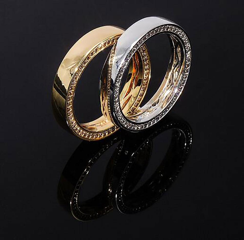 Argento 360 eternità anelli zirconi oro polacco Hip hop Anello per il Natale Lover Festival donne degli uomini migliori regali