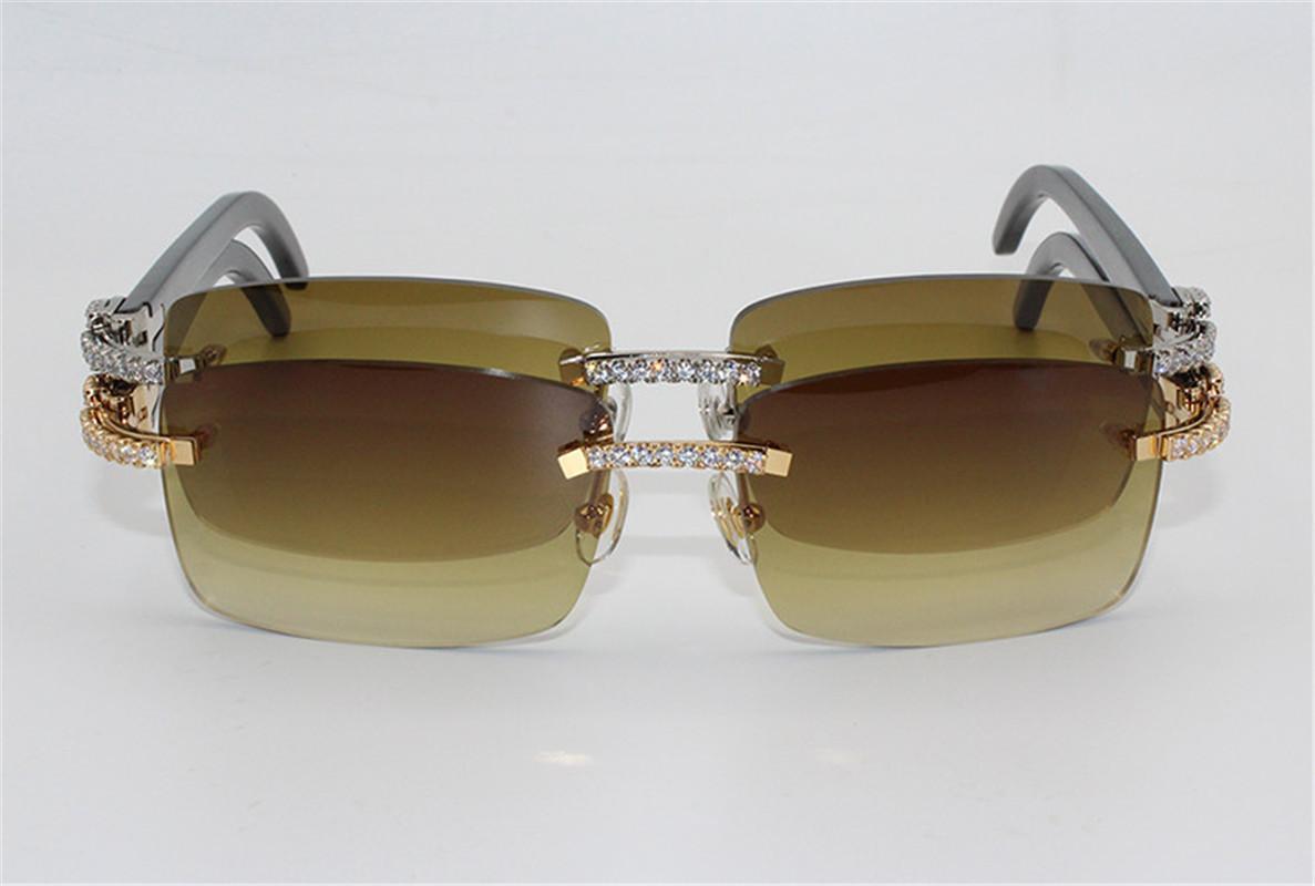 2020 chaudes lunettes de soleil de luxe de marque Grand Diamant Buffalo Horn Sun Lunettes Hommes / Femmes Brown Black Buffalo Horn Verres Boîtier