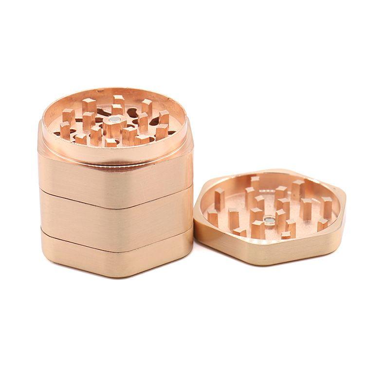 8 * 50mm 4 Capas Hexágono Tabaco amoladoras Hexágono de metal accesorios de fumar tabaco amoladoras de aleación de zinc Grinder