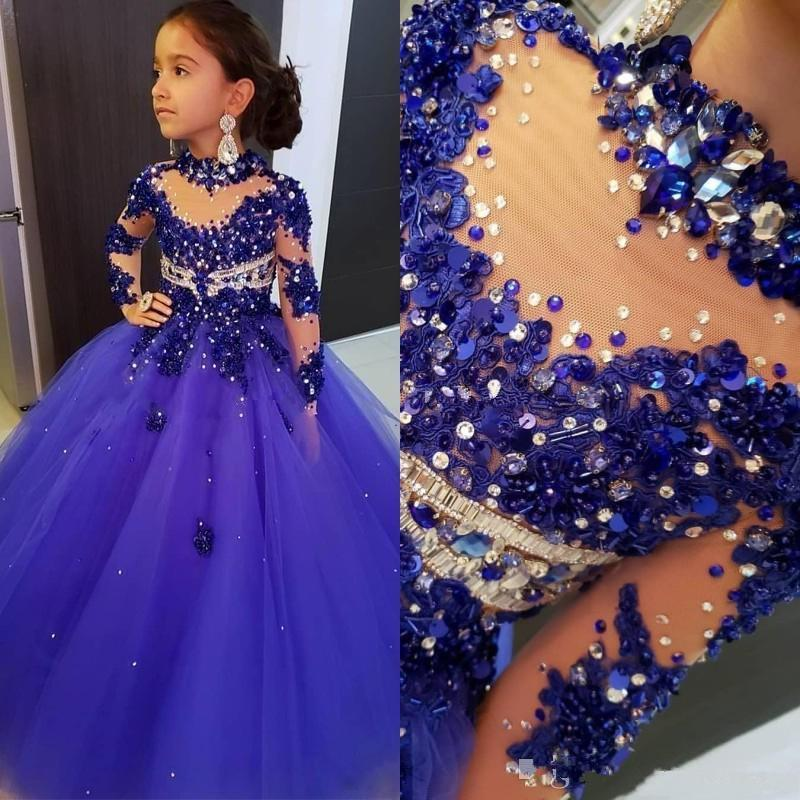 2020 결혼식 긴 소매 로얄 블루 구슬 꽃의 소녀 드레스 바닥 길이 키즈 생일 성찬식 드레스 높은 목 여자 선발 대회 드레스