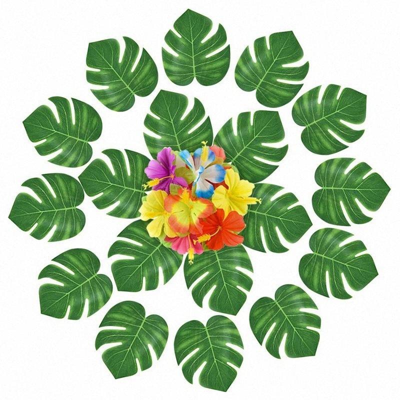 Ensemble de 120 Hawaï de style Décoration Pièces pour l'été avec feuilles de palmier et Fleurs artificielles - Plantes tropicales - Birthd xvVI #
