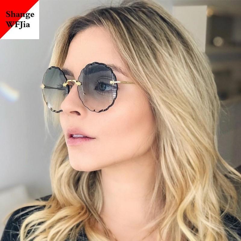 Onregelmatige Bloem Rahmen Ronde Frauen-Sonnenbrille Weinlese Shades Vrouw Zonnebril 2020 Luxe Merk Designer Grote Glazen