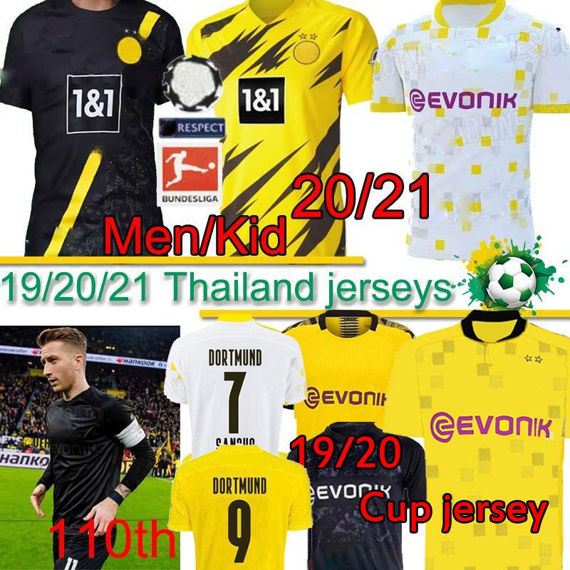 Borussia Dortmund 20 21 HAALAND REUS BELLINGHAM 110 futbol forması TEHLİKESİ SANCHO BRANDT REYNA ÇOCUKLAR KIT Formalar futbol forması MEN Tay PANT