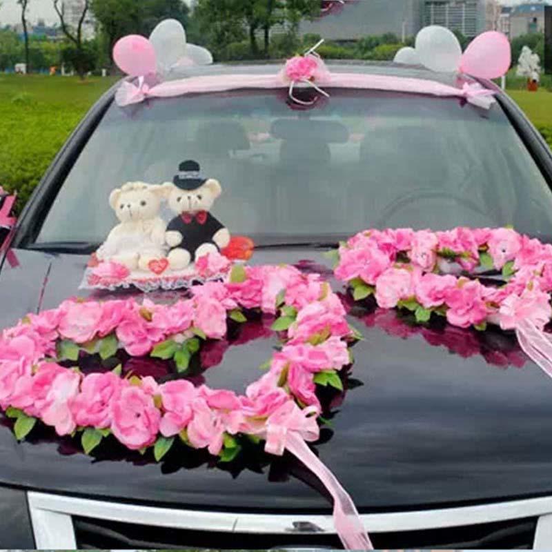 Wedding Car Decor Set coração romântico Rose Kit Flores artificiais w Bears Simulação DIY Flor Bouquet Falso grinalda Party Decor