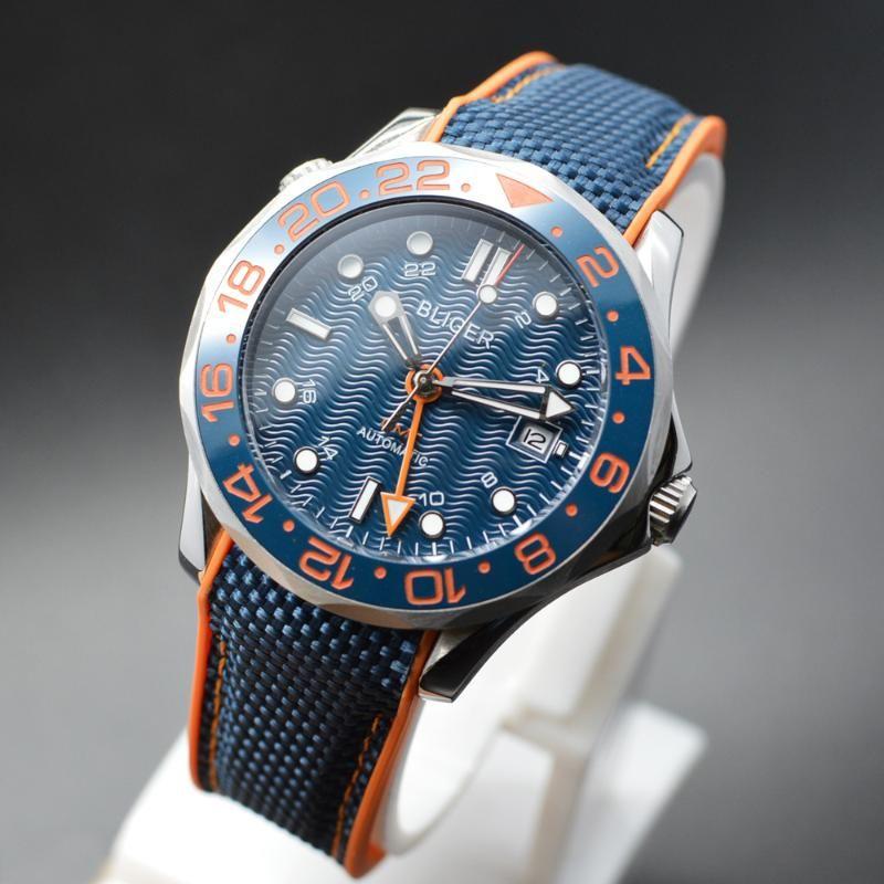 41mm bliger esfera azul GMT mano marcas luminosas de cerámica bisel de zafiro fecha vidrio reloj automático para hombre