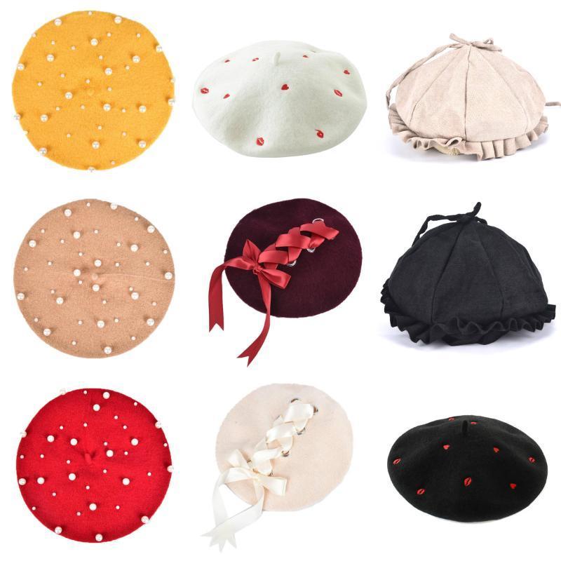 Los granos 1pcs elegante de señora Women fieltro de lana caliente clásico francés de la boina del casquillo del sombrero Beanie Slouch Tam