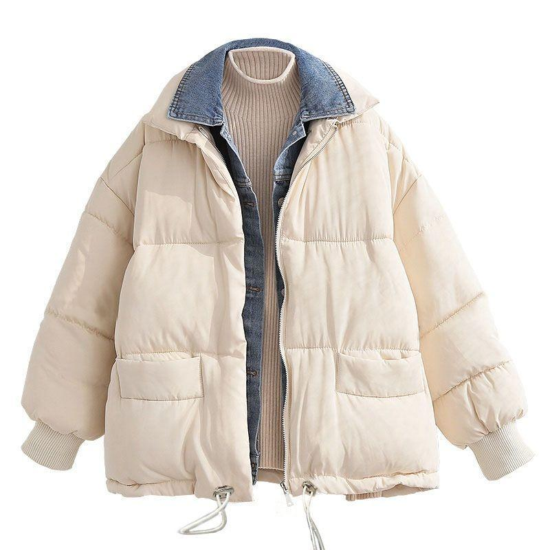 Winter Parka Jacket Women Coat Oversize Loose 2020 Cotton Padded Female Warm Thick Clothes Outerwear Puffer Quilted Fall Denim