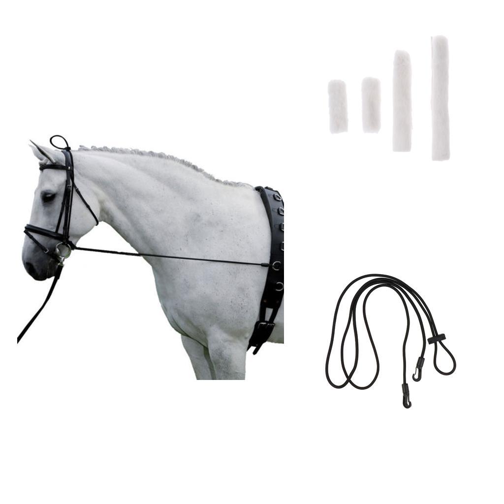 4pcs suave paño grueso y suave del caballo blanco Muserola cubierta con 300cm Suministros Negro Cuello Camilla al aire libre ecuestres