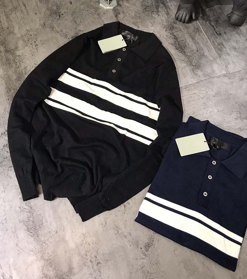 Мужские свитера 2020 осень зима новый мужской моды письмо Вышивка отворотом шею свитер Мужской Повседневный пуловер Кофты размер M-XL