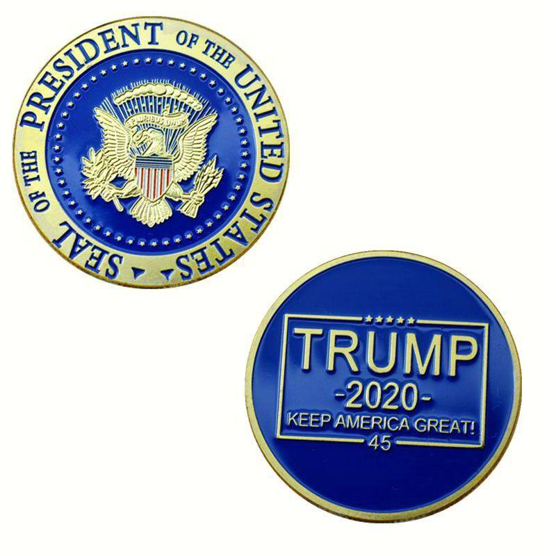 الرئيس دونالد ترامب مطلية بالذهب كوين - عملات معدنية الاحتفاظ أمريكا العظمى التذكارية شارة رمز الحرف مجموعة تذكار كرافت HHD338