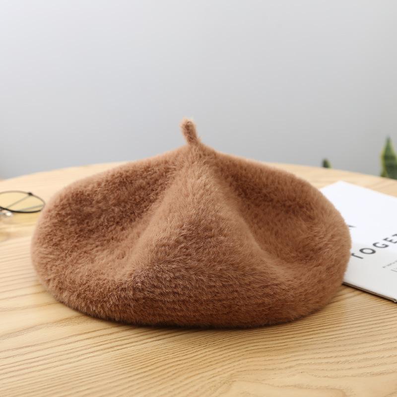 Bérets de laine de femmes se sont senties dames Beret chaud vintage hiver mode chapeau marche élégante dames style britannique chapeau