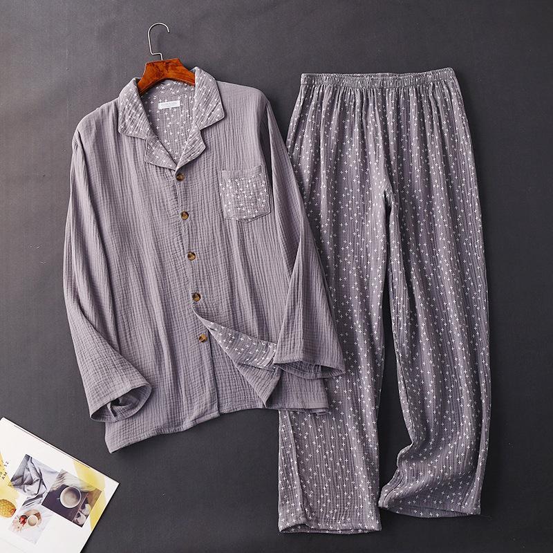Primavera Uomini Pajama Set 100% cotone Pijama pigiami comodi set per maschio a maniche lunghe pigiama Sleepwear casa Suit Plus Size