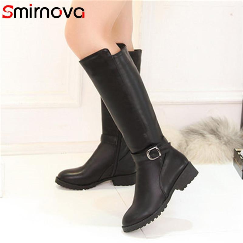Smirnova sexy Frauen neue Ankunft 2020 kniehohe Stiefel runde Kappe mit Metalldekoration med Quadrat Ferse feste sanften Stiefel Damen