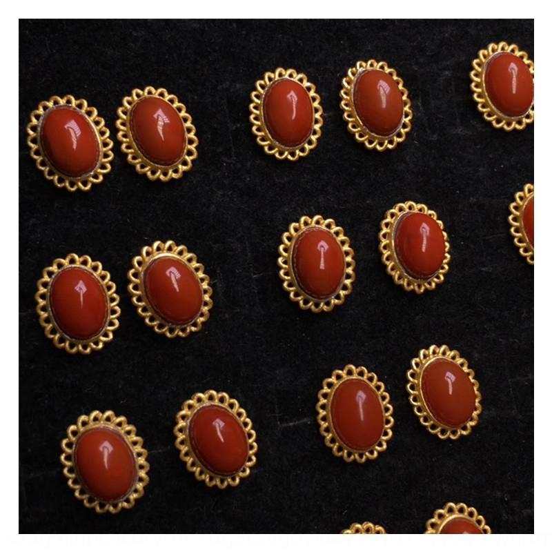 Yk8Xw Ketang alte Mine Sichuan Material Nanhong Achat Ohrringe Ohrring Ohrring Achat Ohrstecker 925 Yunnan alte Methode Gold Verarbeitung keinen M