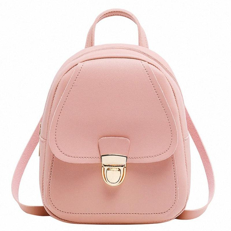 FGGS-Fashion Mochila Multi-Function pequena mochila Mulheres Pu Leather Shoulder Bolsas Escola Female Bag Pacote 1WIN-de-rosa #