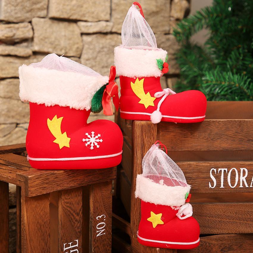 Decorazioni Bag Vigilia di Natale Candy Red Shoes Boots Kindergarten regalo