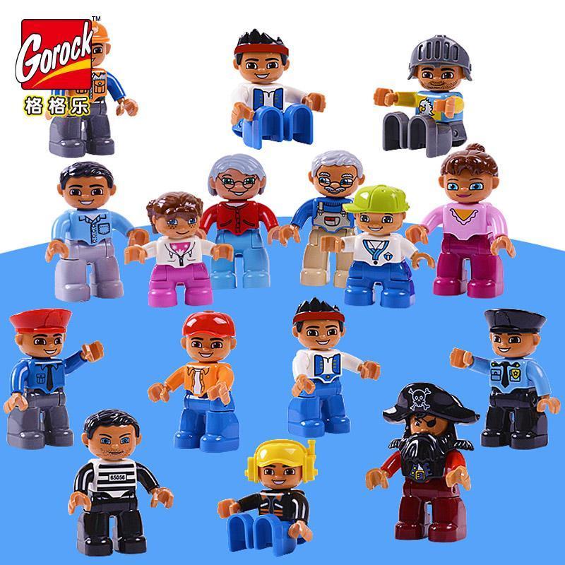 Worker Polizei-Familien-Geschenk-Set für Zeichengröße Spielzeug Dicke Gorock Kindergebäude Weihnachten 6pcs Blocks Abbildung LoRRb mjhome