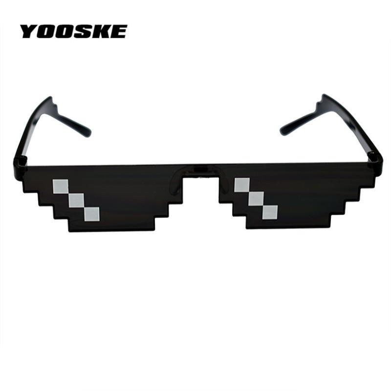 YOOSKE Deal With It очки Мозаика Pixel Thug Life солнцезащитные очки Мужчины партии очки Dealwithit блатной жизни популярной во всем мире