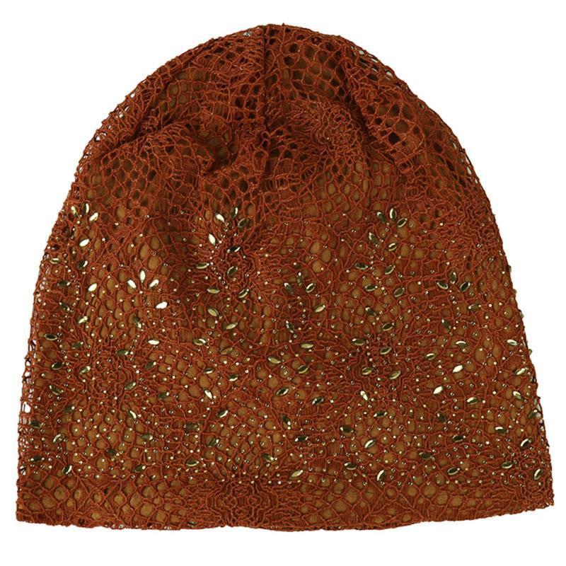 Kadınlar Kemoterapi Cap Sonbahar Hollowed Out Pamuk Blend Wrap Dantel Turban Şapka Örgü Casual Yapay elmas Çivili Saç Dökülmesine İnce