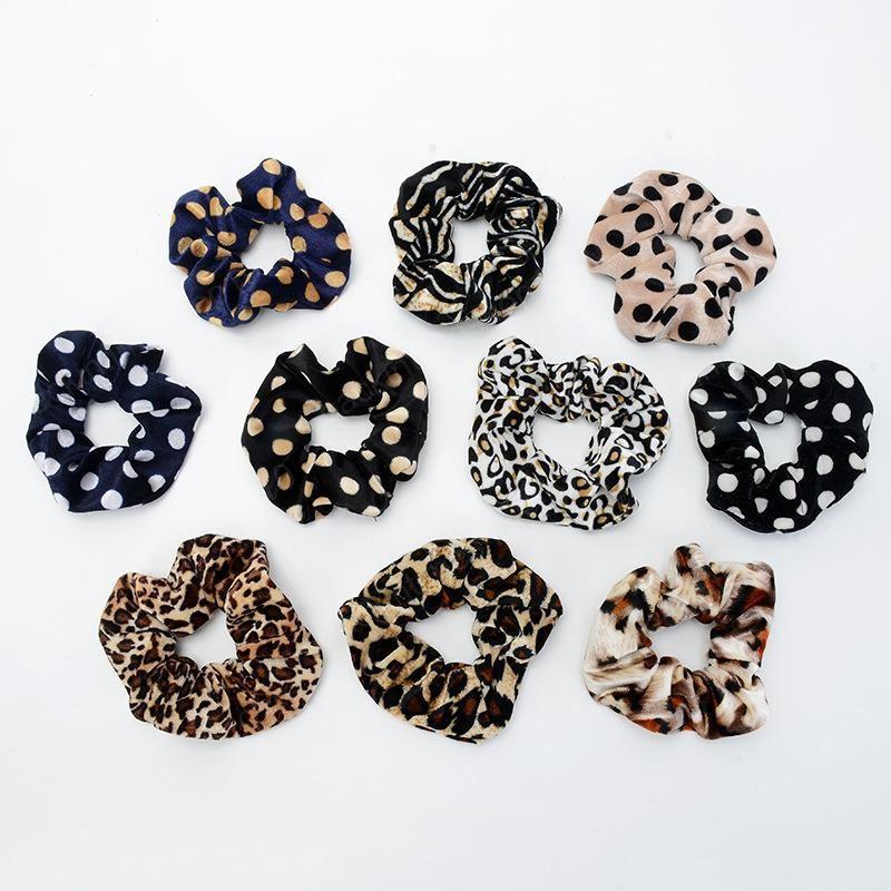 13 colores muchachas de las mujeres del terciopelo de punto leopardo anillo elástico lazos del pelo de la cola de caballo titular Accesorios Hairbands de la goma Scrunchies