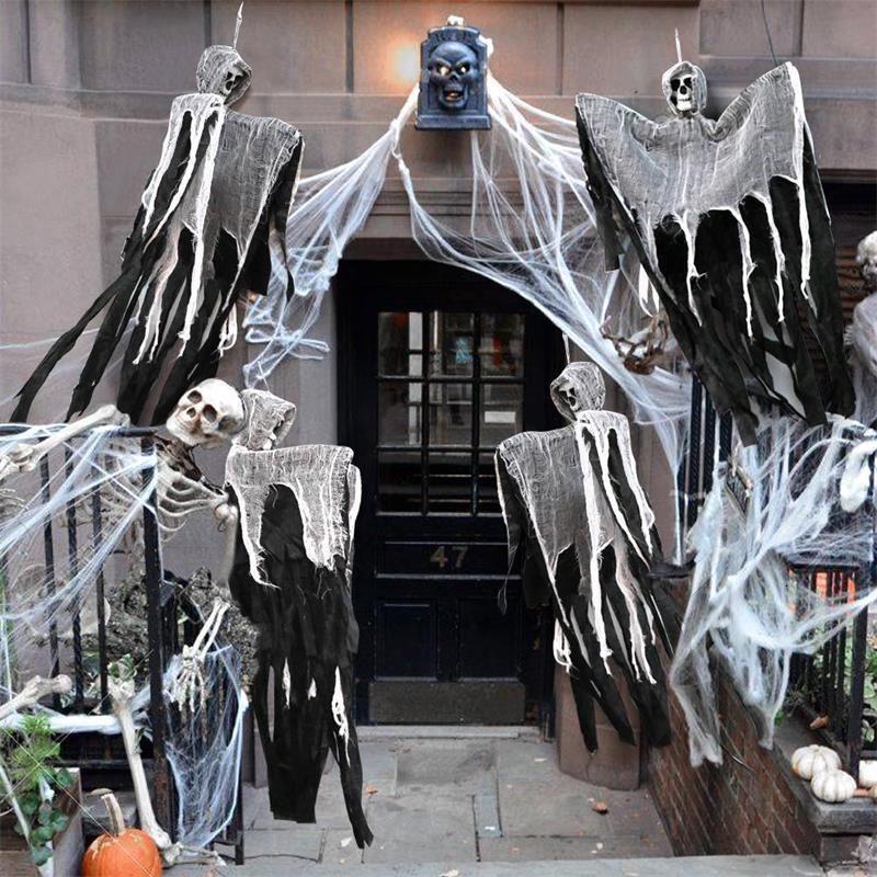 100см Череп Дух Haunted House висячие Косой Horror Props Главная Door Bar Club Хэллоуин украшения