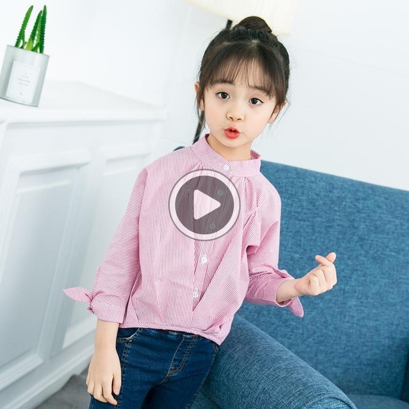 la stagione delle ragazze dei bambini della camicia mezzo di base a maniche lunghe e ampio colletto della camicia basamento per bambini