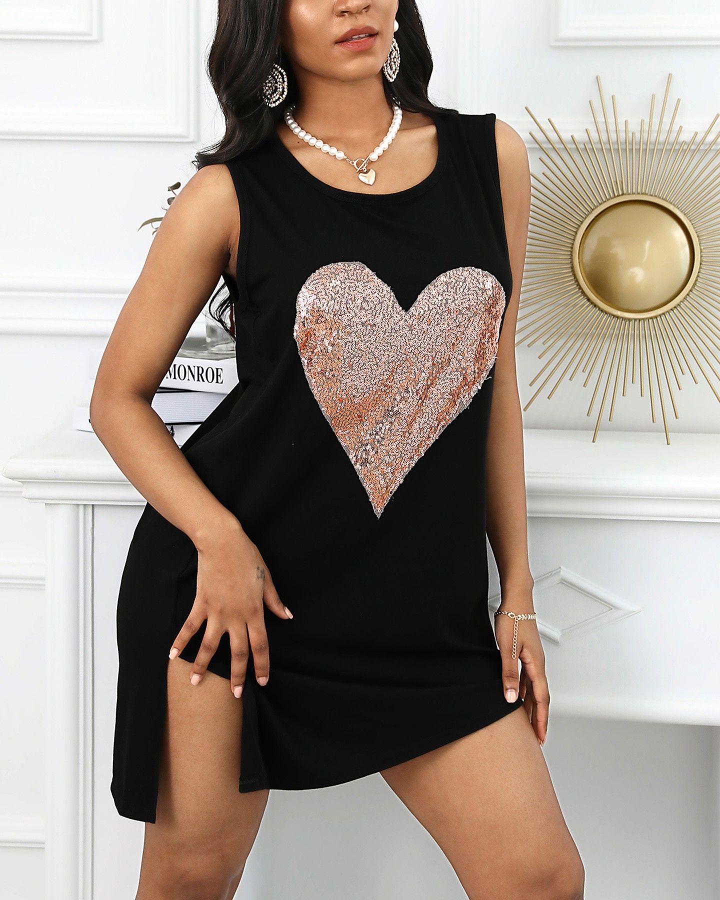 Crew Neck Designer Womens Tshirt Casual Sleeveless Loose Spilt Tops Womens Clothing Love Printed Tees Female