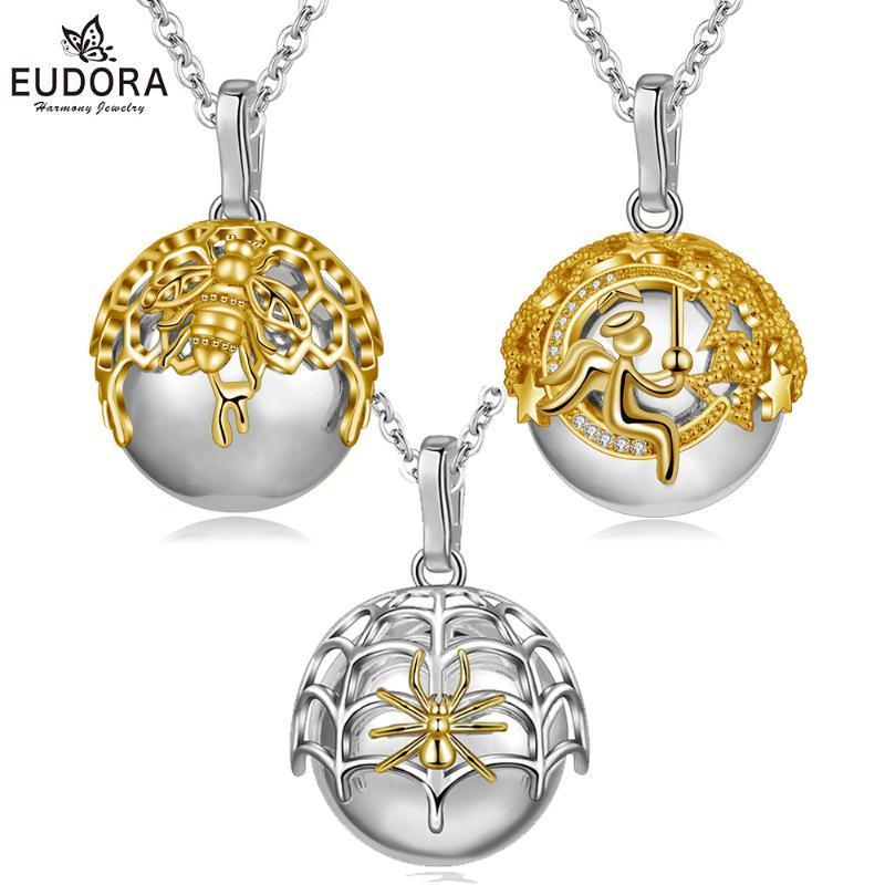 Eudora 20mm oro de lujo Bola mexicana Armonía carillón bola Ángel / abeja Araña Estilo / colgante de collar para la joyería fina embarazo B315