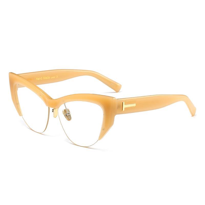 Occhiali da sole Feidu Fashion Big Box Mezza cornice Cat Eye