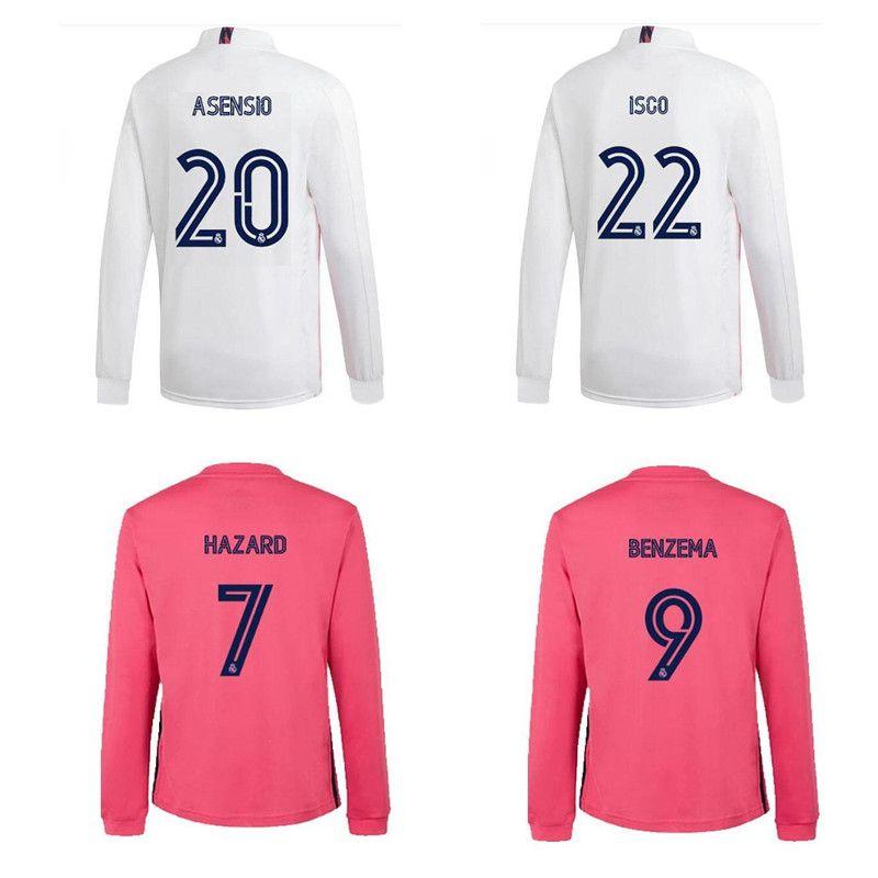 Thai 20 21 vero e proprio calcio madrid maniche lunghe maglie maglia da calcio ASENSIO SERGIO RAMOS 2020 2021 Kroos ISCO maglia PERICOLO Camisas de futebol