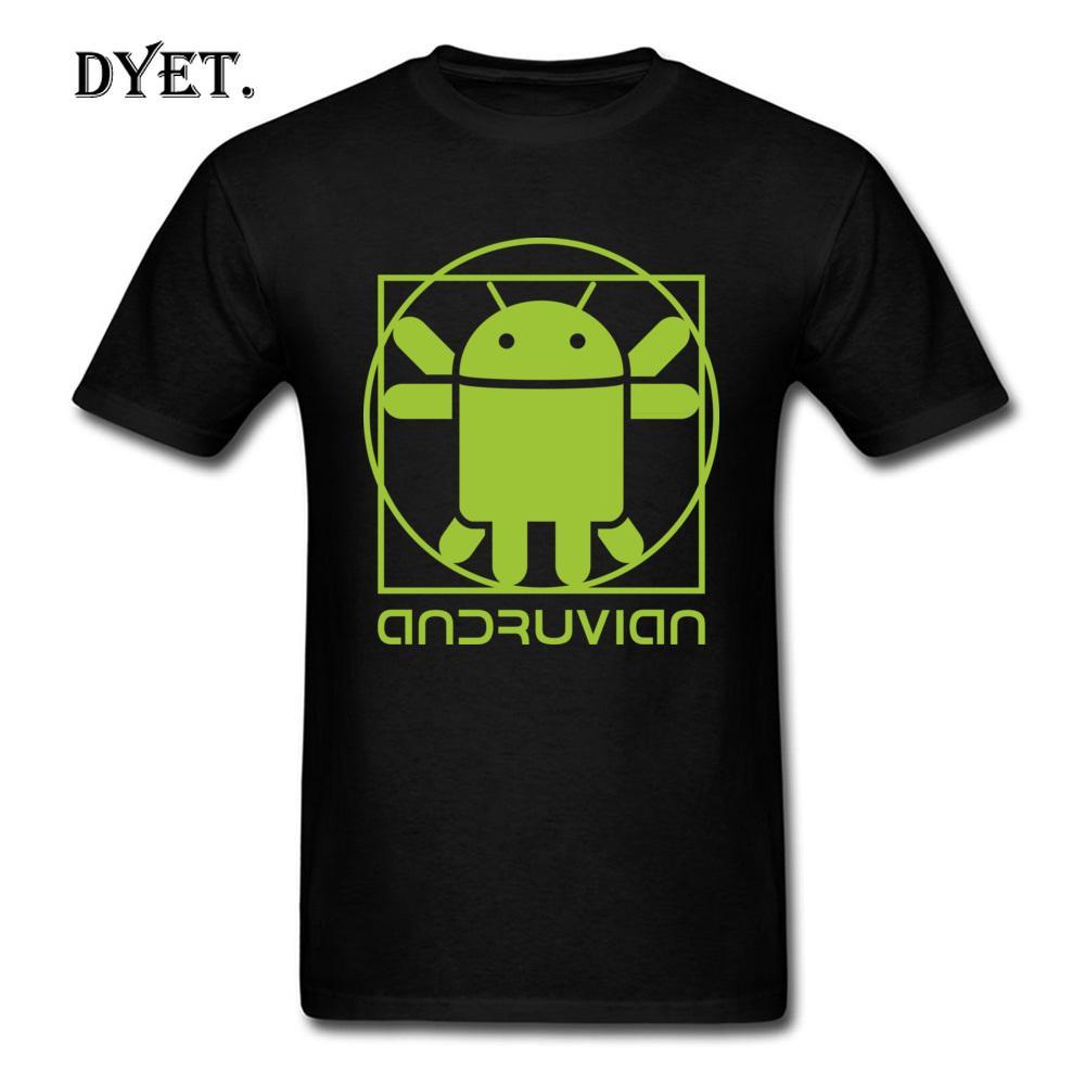 Зеленый Graphic футболки мужские взрослых Чистый хлопок Толстовка Витрувианский Android Gaming Tshirt на продажу Смешные Nice Teeshirt Summer Tee