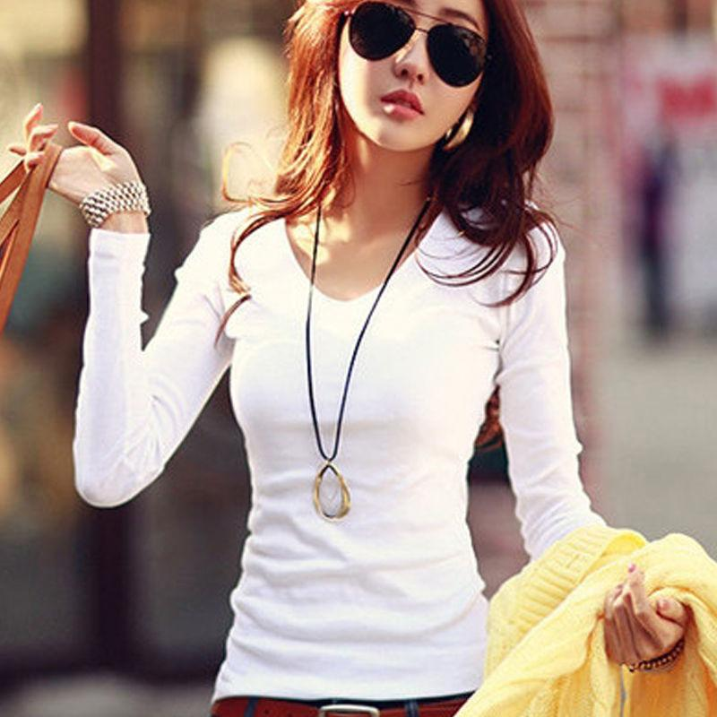 Базовая футболка с длинным рукавом женщин Для женщин Топы 2020 Весна Осень Tee Shirt Женщины корейский T-Shirt Хлопок Новый Плюс Размер Tshirt