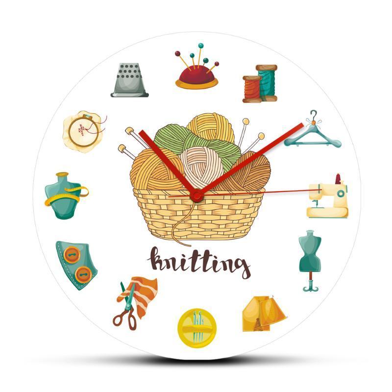 Boules de fil à tricoter Aiguilles à coudre Art Icônes Horloge murale Artisanat Loisirs Arts Culture et Spectacles Acrylique Hanging Montre